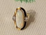 585 yellow gold ring with opal and diamonds # 1350 EU value